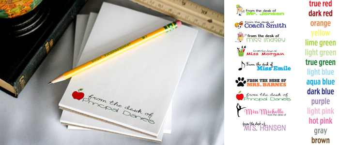 4 personalized teacher notepads perfect for end of school year