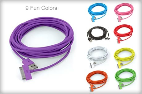 $2 for 10 Foot USB Cables at Eversave (Lots of Fun Colors)