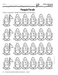 Printables Scholastic Math Worksheets scholastic free winter addition and subtraction worksheets for penguin parade math worksheet