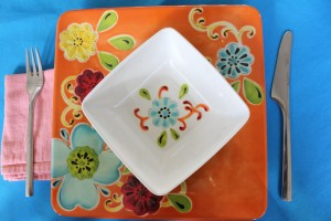 orange plate placesetting