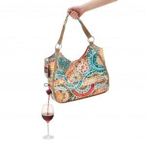 Purse that pours wine or bevearge from a hidden bag inside