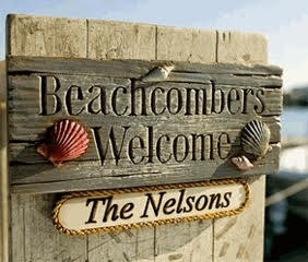 Beachcombers Welcome Sign personalized with your family name