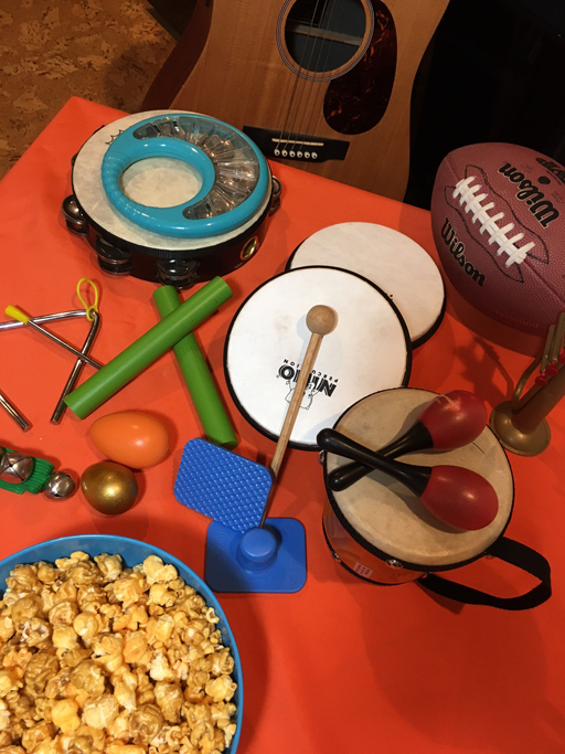 Kids instruments for football game cheering