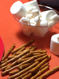 Marshmallow and Pretzel stick edible food field goals