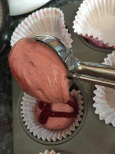 scooping pink batter