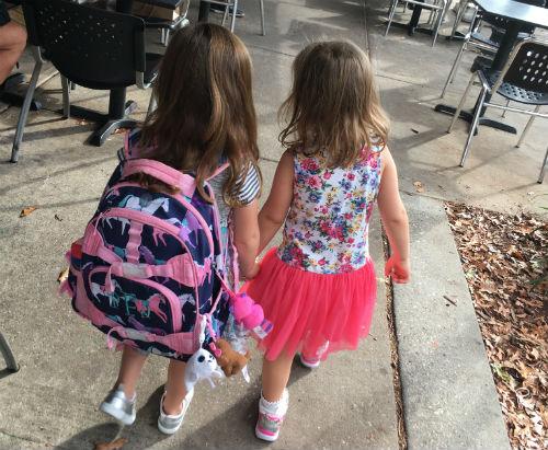 preschool girls walking