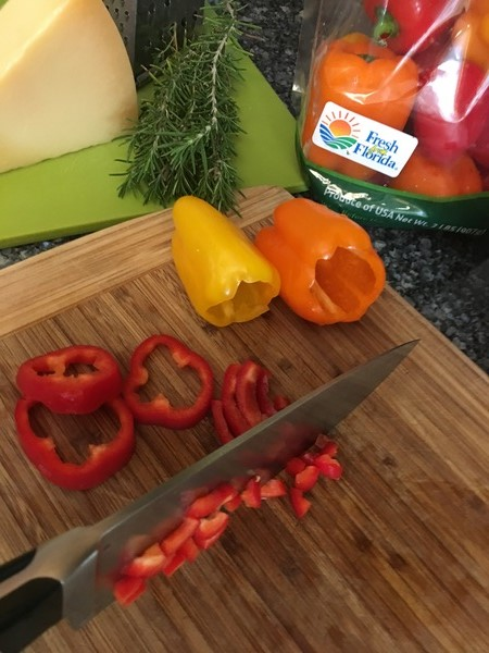 Chopping Florida sweet peppers