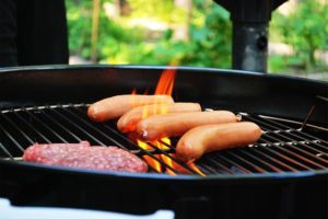 Hamburger and Hot Dogs on a grill