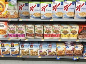 Cereal aisle at Walmart