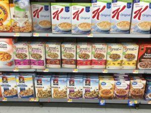 Cereal aisle at Walmart